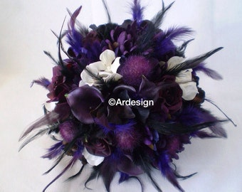 TWILIGHT Wedding Bouquet With Feathers