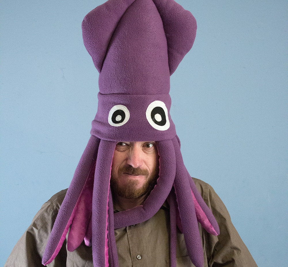 Squid Hat: Large Fleece Squid Hat Purple By ObeyMyBrain On Etsy