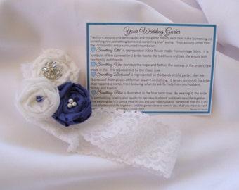 Garter for Wedding something old, something new, something borrowed, something blue with poem and toss garter