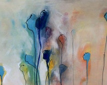 Abstract art acrylic and ink painting canvas roll 43x23cm