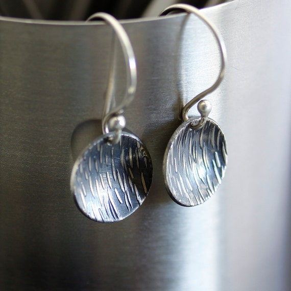Textured Oxidized Silver Saucer Earrings