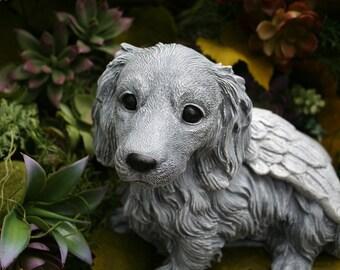 "Dog Angel Statue ""Long Haired Dachshund"" Pet Memorial Garden Decor Art"