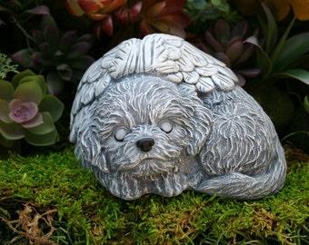 Dog Angel Statue - Bichon Frise Memorial - Solid Concrete