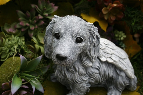 Dog Angel Statue Long Haired Dachshund Pet