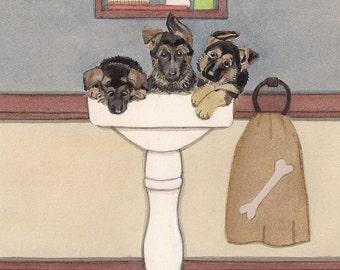 German shepherd puppies fill sink at bath time / Lynch signed folk art print
