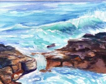 ocean watercolor painting,  original art from kauai, hawaii seascape art, tide pools, wave watercolours, salt pond beach, hawaiian decor