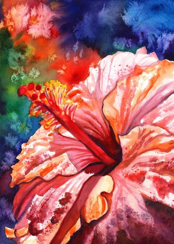 Tropical Hibiscus 2 5x7 art print from Kauai Hawaii hot pink