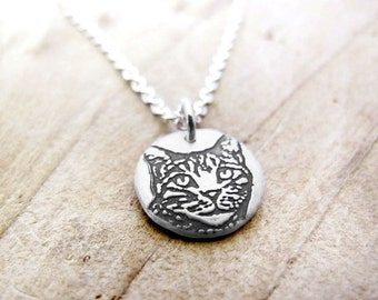 Tiny Tabby Cat necklace, silver cat pendant, remembrance jewelry, cat jewelry
