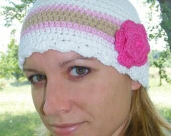 Womens Hat 30 Colors Womens Beanie Womens Cap Crochet Flower Hat Flapper Beanie Lightweight Spring Hat Fall Hat Autumn Hat Design Your Own