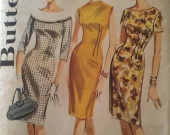 Vintage 50s 60s Flange Collar Fitted Sheath Wiggle Dress Sewing Pattern 2137 B36