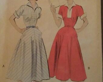 Vintage 50s Slit Neckline Wing Collar Cuff Sleeve Day Dress Pockets Sewing Pattern 6431 B32