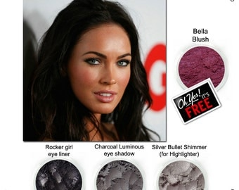 Megan Fox, Get the Look, rocker girl eyeliner, charcoal luminous, silver bullet highlighter, FREE Bella Blush.