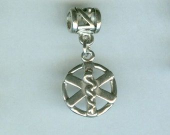 Sterling MEDICAL SYMBOL Bead Charm for all Name Brand Add a Bead Charm Bracelets