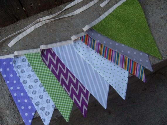 Purple green gray fabric flag banner teacher classroom nursery for Purple nursery fabric