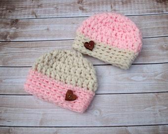 Twin Baby Hats, Crochet Twin Hats, Twin Girl Hats, Newborn Girl Hats, Infant Twin Hats, Girl, Crochet Baby Hat, Baby Girl Hat, Pink