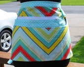 Handmade Vendor Apron Zipper Vendor Apron Chevron Apron Farmers Market Teacher Craft Server Gardener Cash Pockets Blue Green