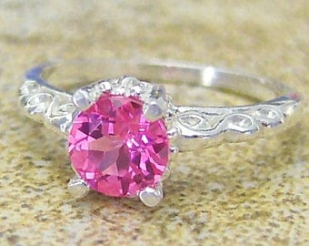Lab Pink Sapphire Sterling Silver Scroll Ring, Cavalier Creations