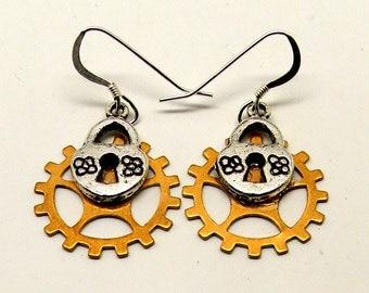 Steampunk  earrings. Steampunk jewelry .
