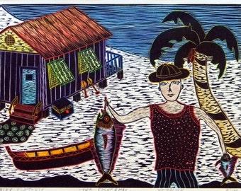 "Woodblock print ""The Fisherman "". Hand pulled print. Hand colored print. Printmaking."