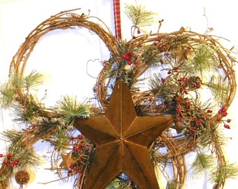 Wispy Pine Wreath with 12 Inch Metal Star, Red Berries and Pine Cones