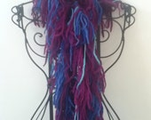Navy violet and turquoise wool boa scarf - ArtisticSouljah