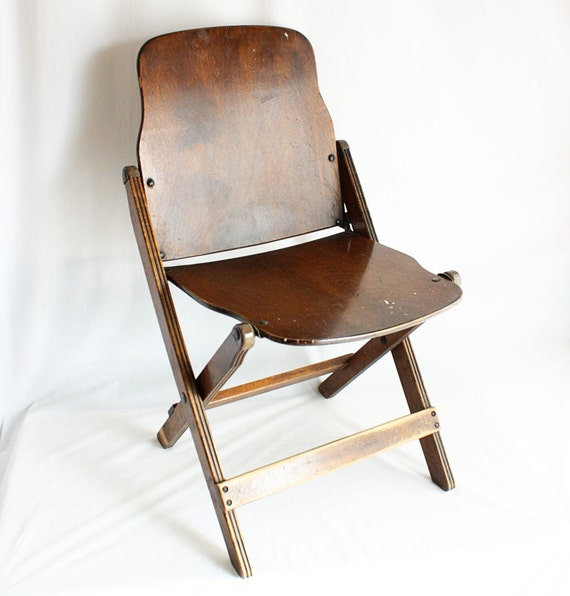 Vintage wood folding chair Dearborn Co WWII by OldCottonwood