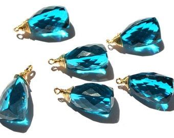 2Pcs 22kt Gold Vermeil Wire Wrapped AAA Apatite Blue Quartz Fancy Briolette 24x12mm Wire Wrapped Dangles, Charm, Pendant