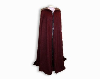 Medieval Cape, wedding cape with hood, hooded medieval cloak, winter wedding cloak, game of thrones cape, sca cape, hooded renaissance cape