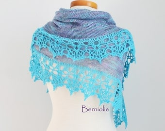 Knitted shawl with crochet lace trim, Shades of blue, M154