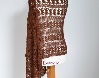 Lace crochet shawl, brown, cotton K182