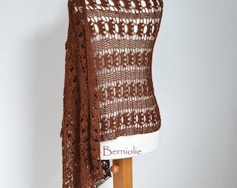 Lace crochet shawl, brown, cotton M182