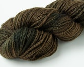 Hand Dyed Wool Worsted Weight Yarn - Brown and Black - Valiant OOAK