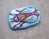 House Fly Pin, Embroidered Fiber Art Brooch