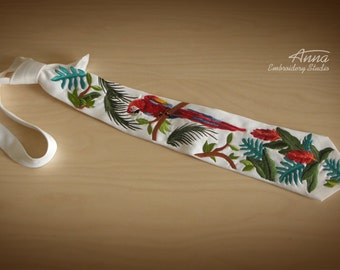 Embroidered tie for men. Man's tie. Rainforest. Parrot. Gift for man. Accessories for man