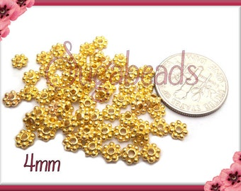 100 Bright Gold Tone Daisy Spacers 4mm DS13
