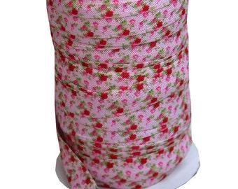 """5 Yards 5/8"""" Designer Fold Over Elastic FOE - Cottage Pink Roses"""