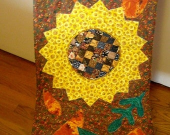 Autumn Sunflower, Leaves Table Runner, Greens Golds Browns Yellows