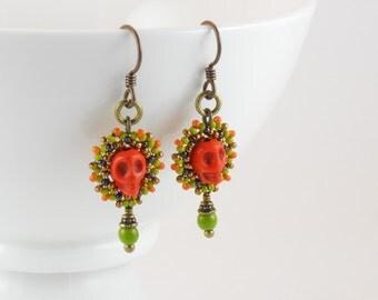 Beaded Small Calavera Earrings/Orange Skulls/Chartreuse Czech Beads/Niobium/Hypoallergenic/Pumpkin/Bronze/Aubergine/Lime/Autumn - - Ines