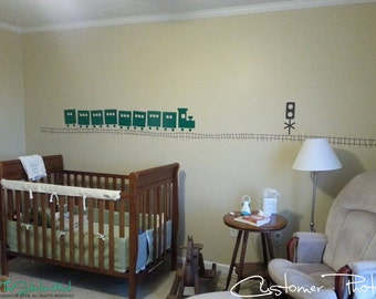 Large Train with Tracks • Nursery Decor • Baby Boy Decor • Removeable • Railroad Theme • Vinyl Wall Quote Saying Stickers Decals 1219