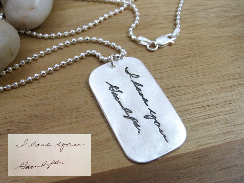 handwriting jewelry custom dog tag necklace personalized. Black Bedroom Furniture Sets. Home Design Ideas