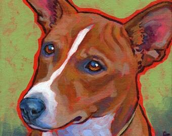 BASENJI Dog Original Portrait Art Painting on Canvas 8x8 by Lynn Culp