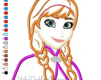 Frozen Anna Princess Machine Embroidery Applique Design Digital Download