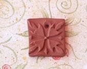 Essential Oil Diffuser Necklace Pendant Terra Cotta Square Flower