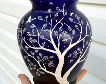 Bats and Tree with Skeletal Leaves on A Recycled Glass Cobalt Blue Vase
