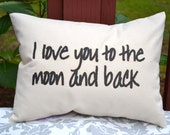 Personalized pillow, Valentines gift idea,  Love pillow, Moon pillow, anniversary pillow, couples pillow