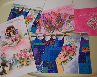 six sweet adorable vintage cards