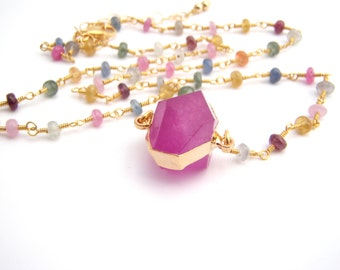 Sapphire And Geometric Pendant Necklace, Rosary Style, Gold, Radiant Orchid, Blue, Modern, September Birthstone
