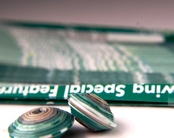 21B Green with YellowPrinted paper perfectly cut for making paper beads with your paper bead roller