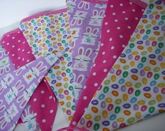 EASTER SPRING PARTY Flags Bunting Banner Garland with Bunnies and Jelly Beans--Spring Garland--Easter Banner--Pink Purple Yellow Green Blue
