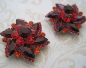 Ruby red rhinestone flower shoe clips